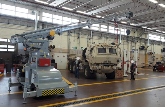 Cranes for the maintenance of their military vehicles