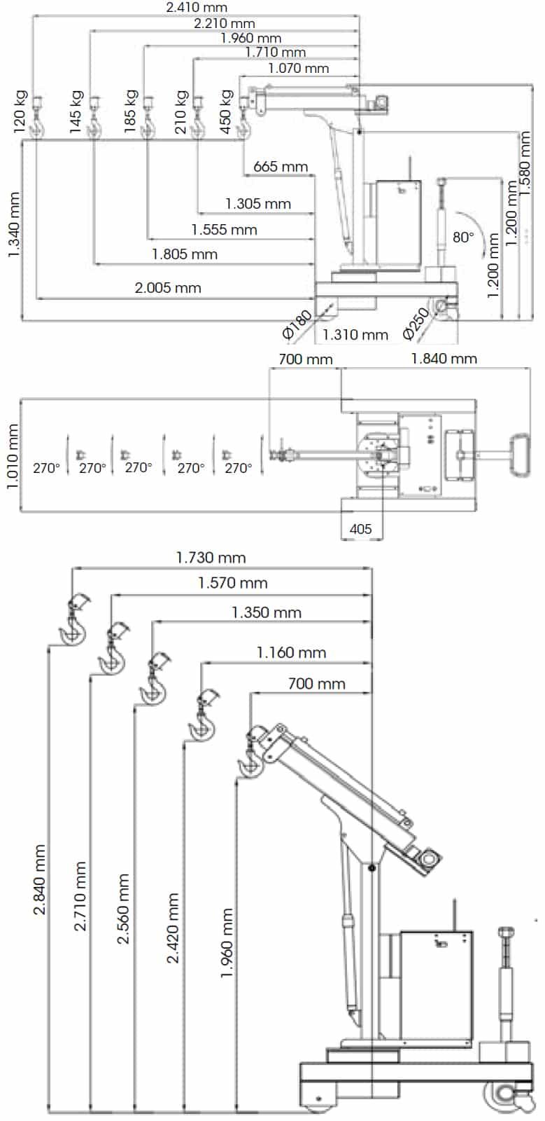 электрические и полуэлектрические мини-краны грузоподъемностью до 450кг.